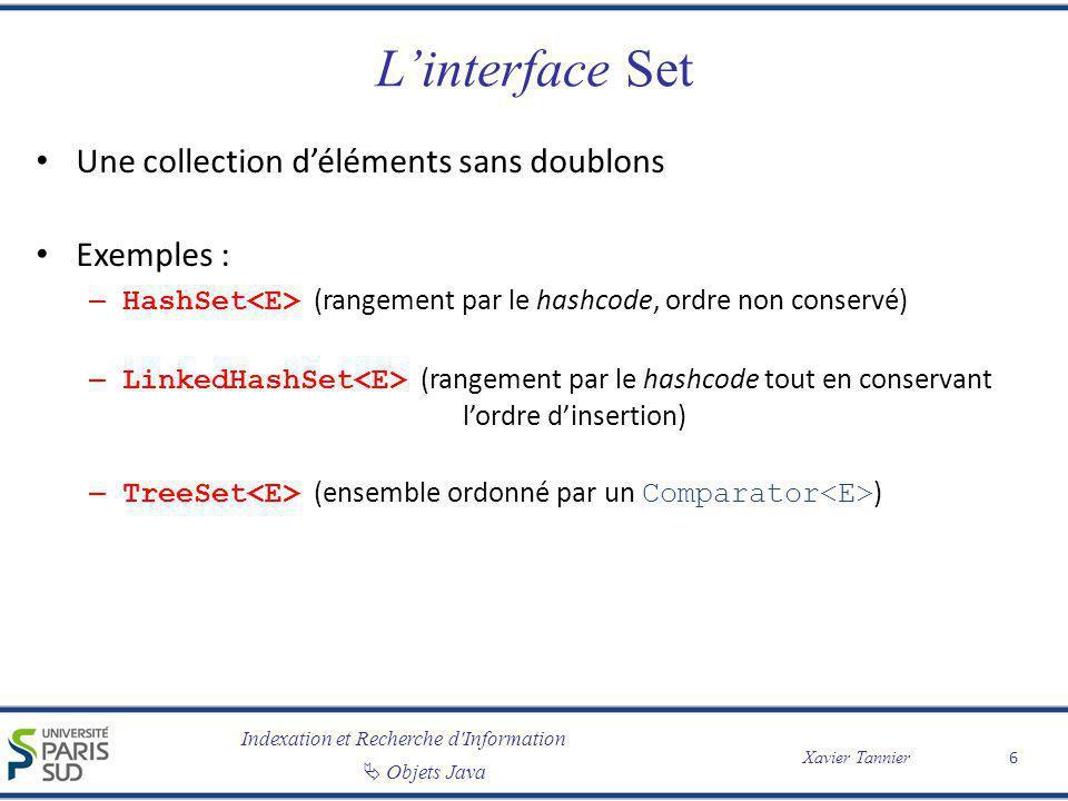 Indexation et Recherche d'Information Objets Java Xavier Tannier Linterface Set Une collection déléments sans doublons Exemples : – HashSet (rangement