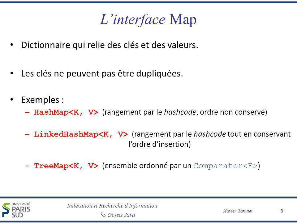 Indexation et Recherche d'Information Objets Java Xavier Tannier Linterface Map Dictionnaire qui relie des clés et des valeurs. Les clés ne peuvent pa