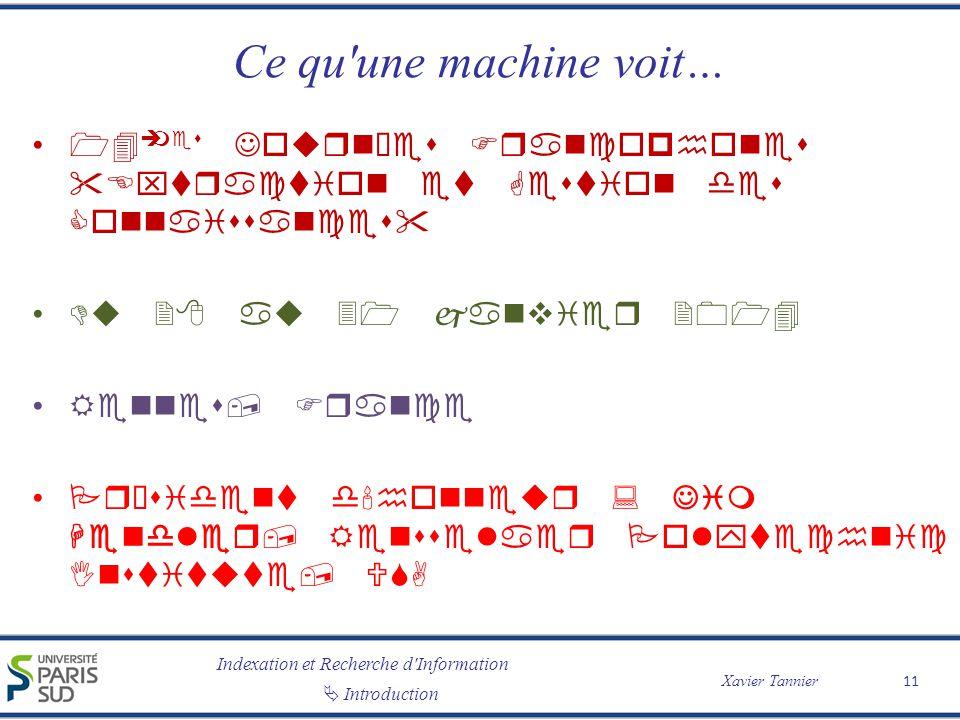 Indexation et Recherche d Information Introduction Xavier Tannier Ce qu une machine voit… 11