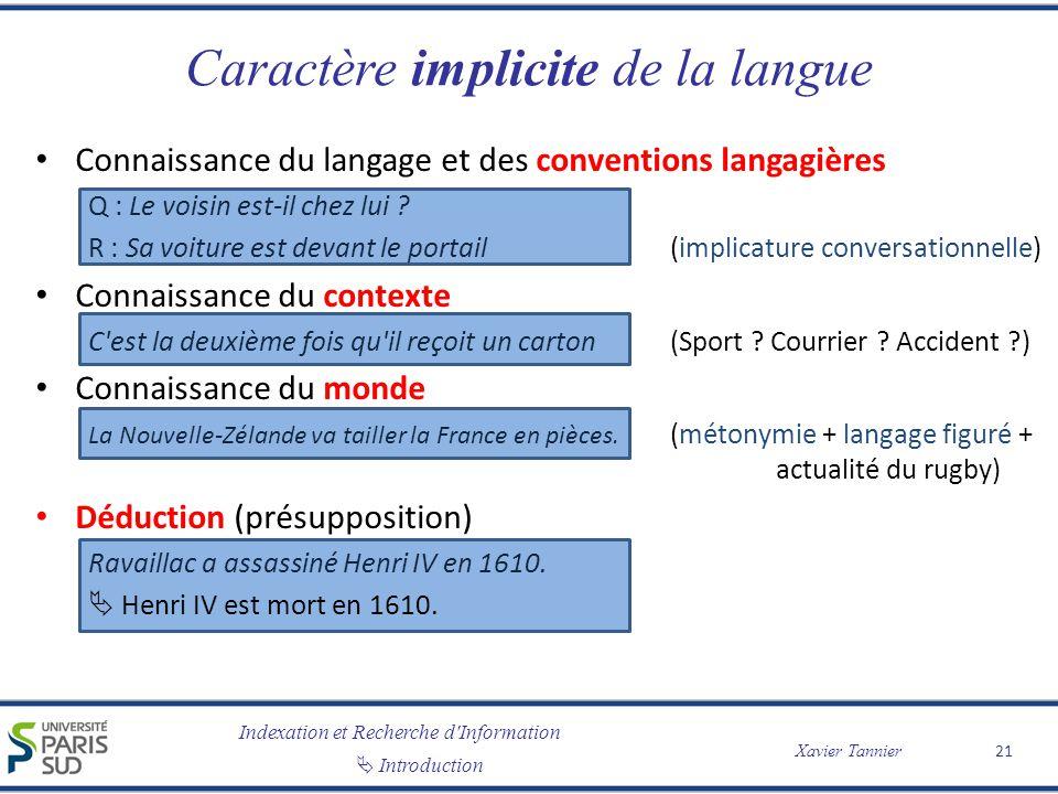 Indexation et Recherche d Information Introduction Xavier Tannier Caractère implicite de la langue Connaissance du langage et des conventions langagières Q : Le voisin est-il chez lui .