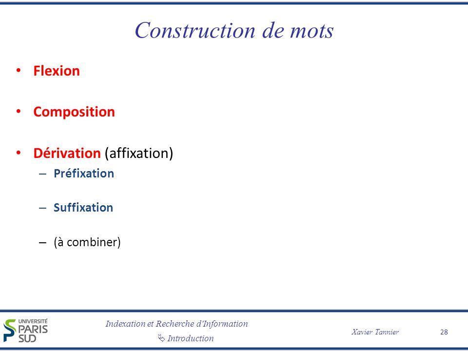 Indexation et Recherche d Information Introduction Xavier Tannier Construction de mots Flexion Composition Dérivation (affixation) – Préfixation – Suffixation – (à combiner) 28