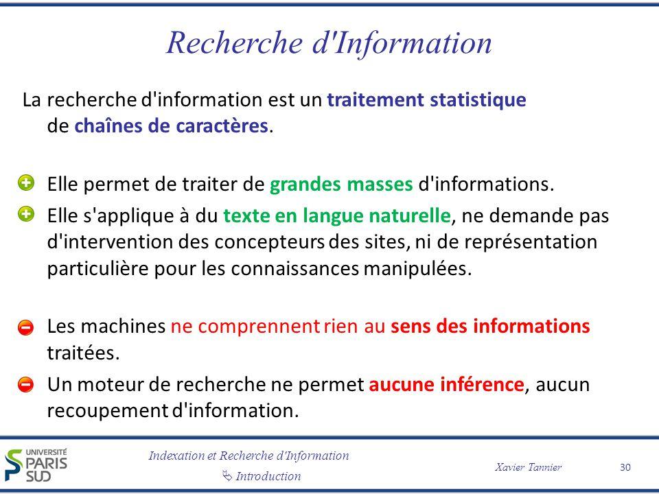 Indexation et Recherche d Information Introduction Xavier Tannier Recherche d Information La recherche d information est un traitement statistique de chaînes de caractères.