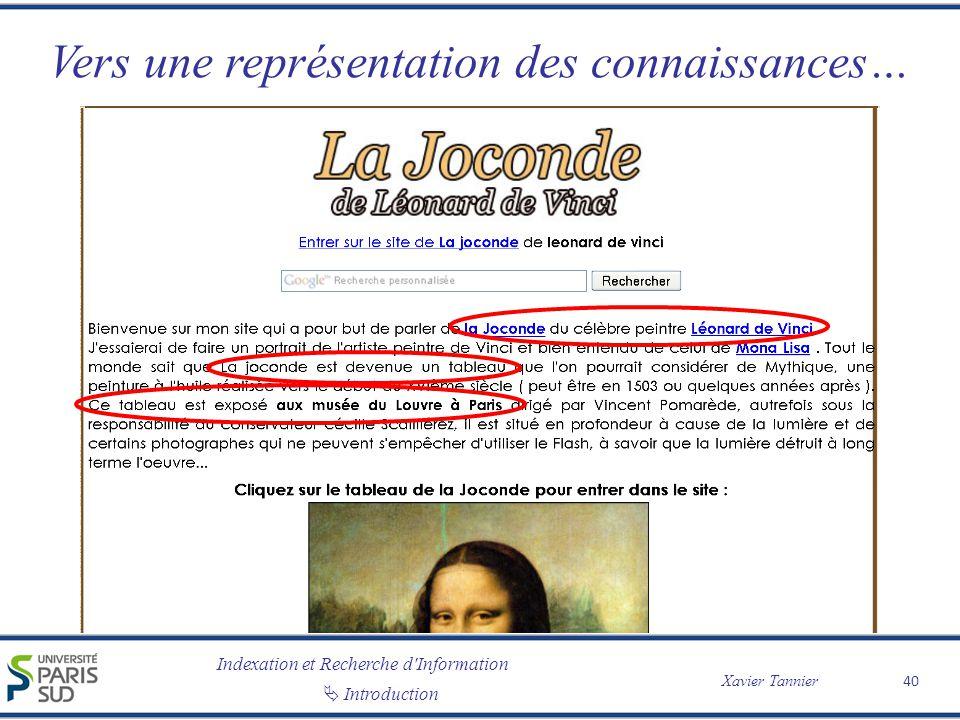 Indexation et Recherche d Information Xavier Tannier Introduction Vers une représentation des connaissances… 40