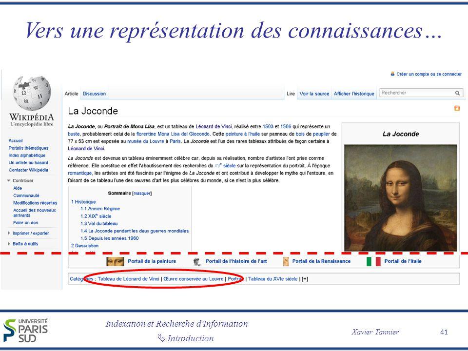 Indexation et Recherche d Information Xavier Tannier Introduction Vers une représentation des connaissances… 41