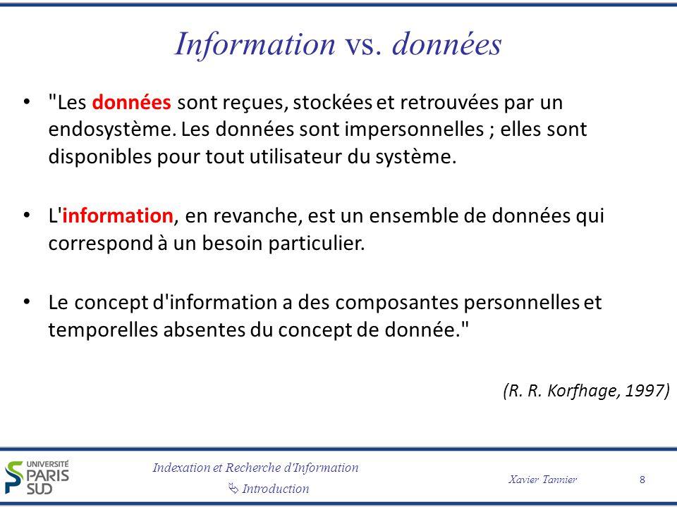 Indexation et Recherche d Information Introduction Xavier Tannier Information vs.