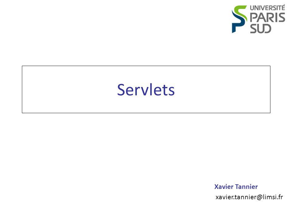 Programmation Web JSP Xavier Tannier Destruction d une servlet Décidée par le moteur Appel de la méthode – public void destroy() – que l on peut redéfinir