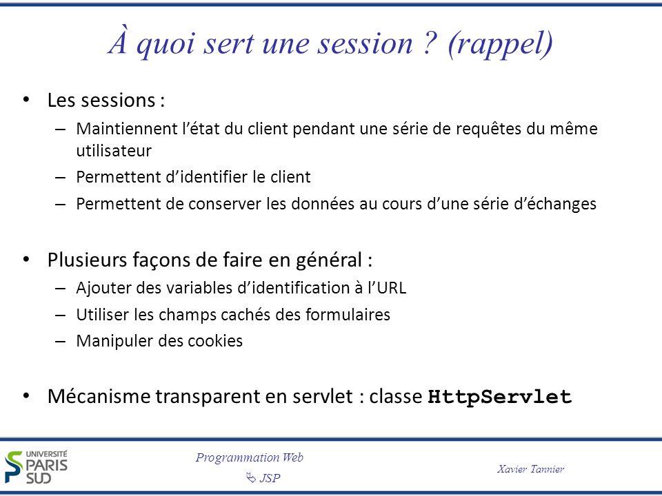 Programmation Web JSP Xavier Tannier À quoi sert une session ? (rappel) Les sessions : – Maintiennent létat du client pendant une série de requêtes du