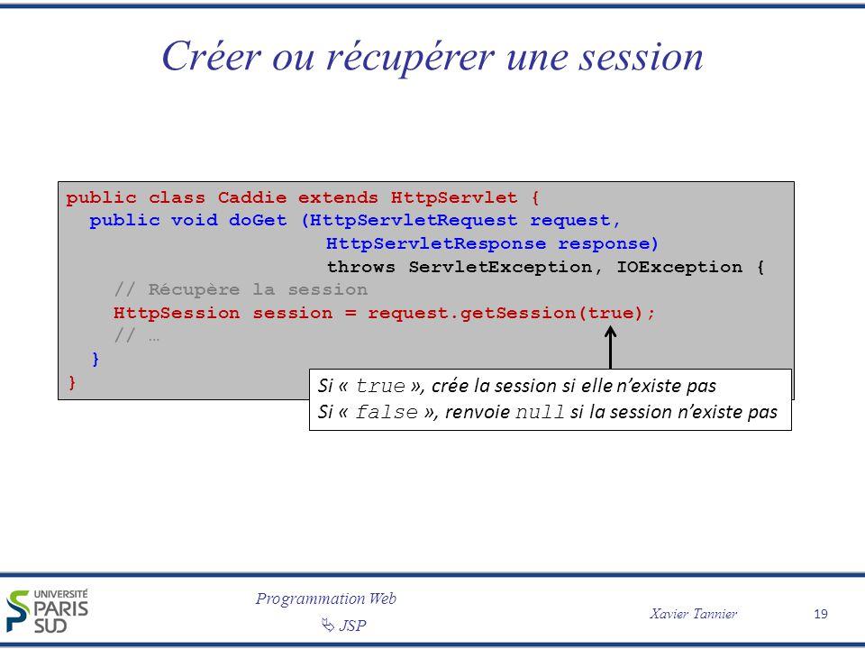 Programmation Web Xavier Tannier JSP 19 Créer ou récupérer une session public class Caddie extends HttpServlet { public void doGet (HttpServletRequest