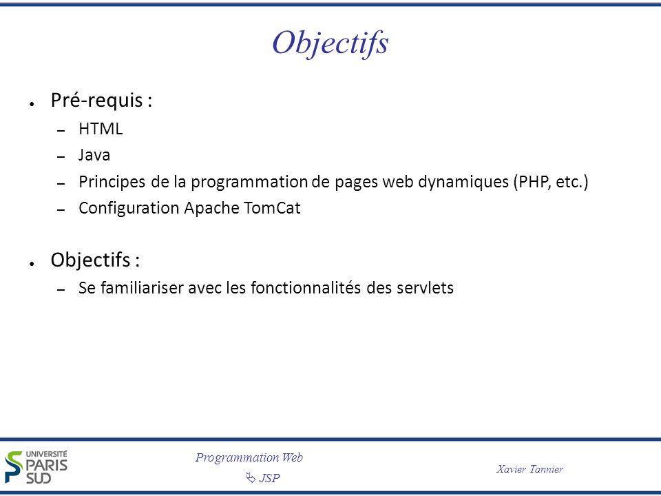 Programmation Web JSP Xavier Tannier Objectifs Pré-requis : – HTML – Java – Principes de la programmation de pages web dynamiques (PHP, etc.) – Config