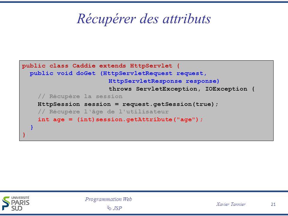 Programmation Web Xavier Tannier JSP 21 Récupérer des attributs public class Caddie extends HttpServlet { public void doGet (HttpServletRequest reques