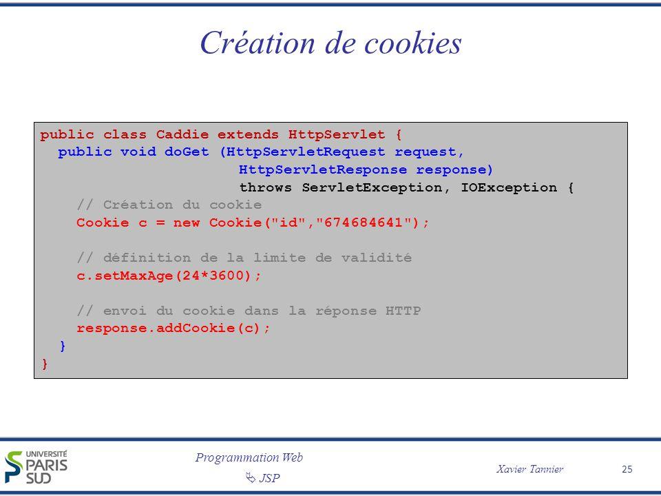 Programmation Web Xavier Tannier JSP 25 Création de cookies public class Caddie extends HttpServlet { public void doGet (HttpServletRequest request, H