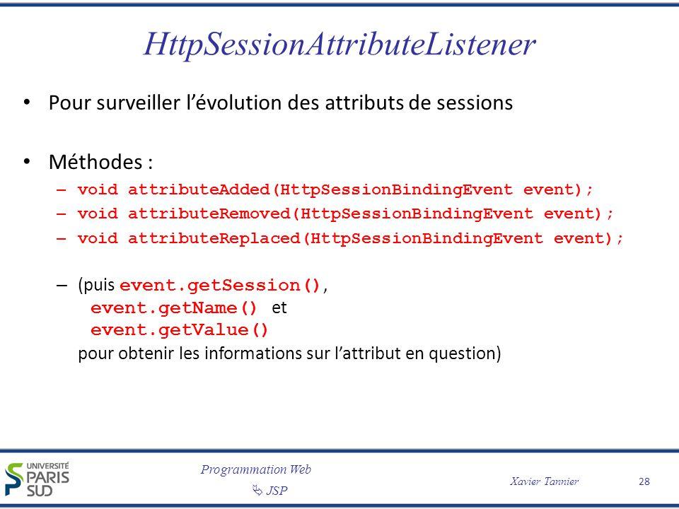 Programmation Web JSP Xavier Tannier HttpSessionAttributeListener Pour surveiller lévolution des attributs de sessions Méthodes : – void attributeAdde