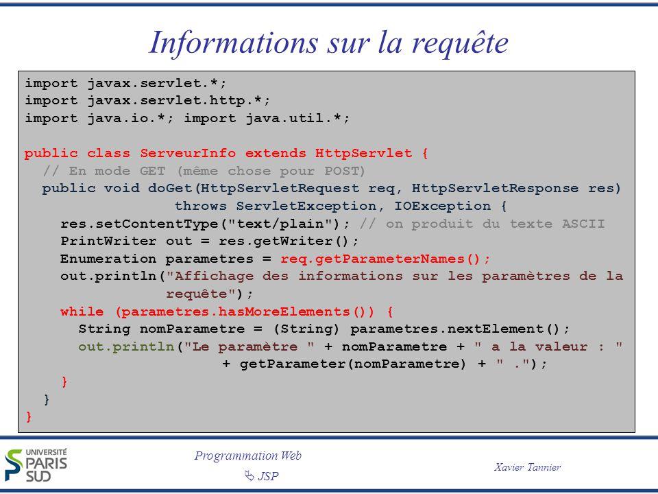 Programmation Web Xavier Tannier JSP Informations sur la requête import javax.servlet.*; import javax.servlet.http.*; import java.io.*; import java.ut