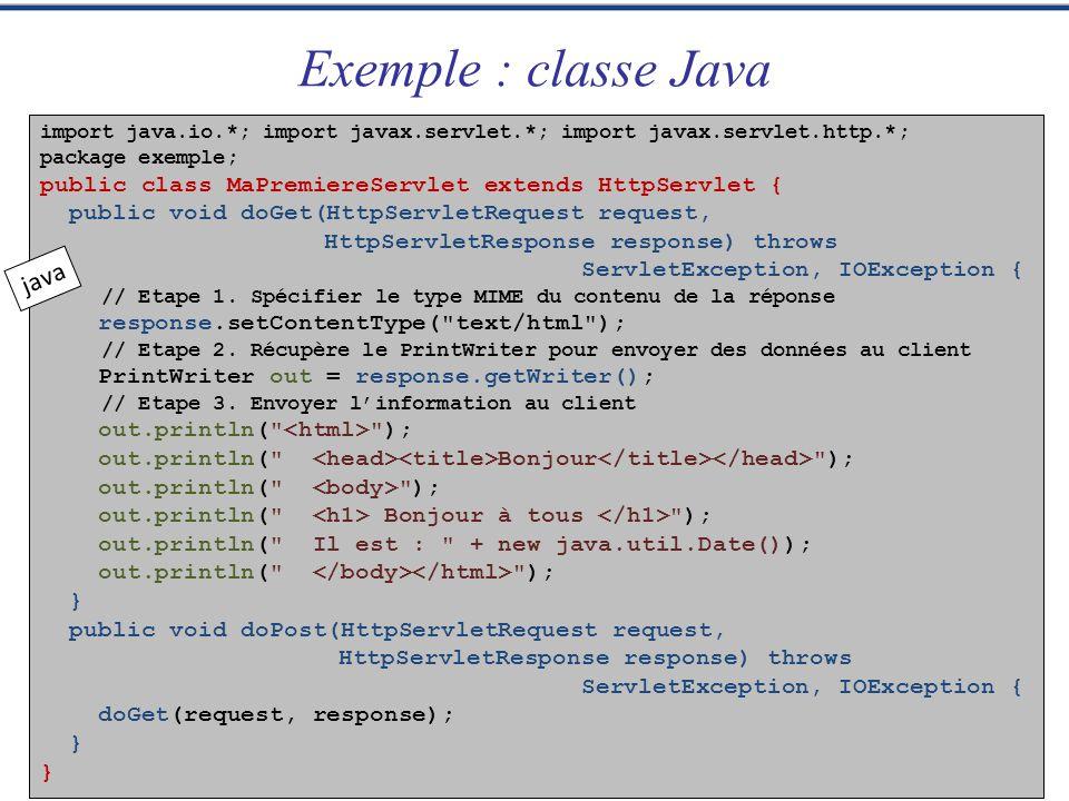 import java.io.*; import javax.servlet.*; import javax.servlet.http.*; package exemple; public class MaPremiereServlet extends HttpServlet { public vo