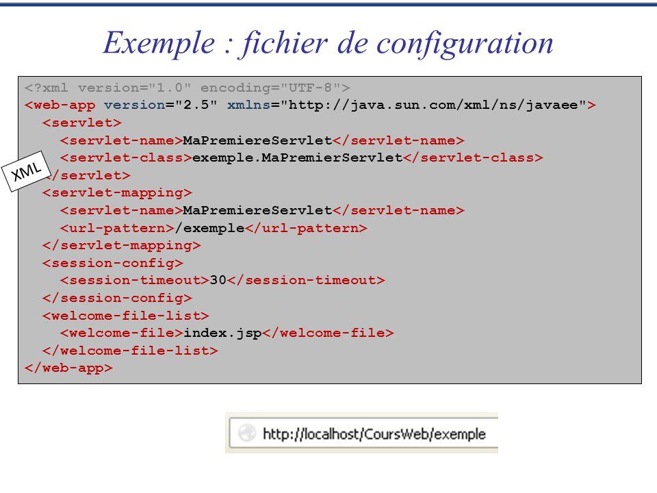 import java.io.*; import javax.servlet.*; import javax.servlet.http.*; package exemple; @WebServlet(name= MaPremiereServlet , urlPatterns={ /exemple }) public class MaPremiereServlet extends HttpServlet { … } Exemple servlet 3.0 java Permet déviter le fichier de configuration