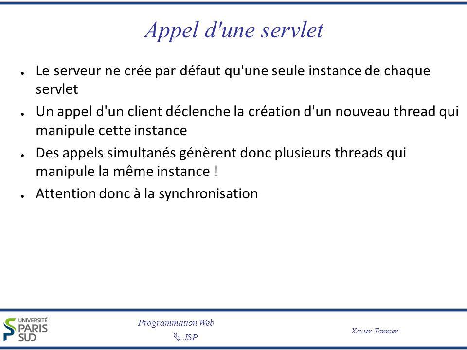 Programmation Web JSP Xavier Tannier Appel d une servlet import javax.servlet.*; import javax.servlet.http.*; import java.io.*; public class BonThread extends HttpServlet { private int compteur = 0; public void doGet(HttpServletRequest req, HttpServletResponse res) throws ServletException, IOException { synchronized(this) { int tmpCompteur = ++compteur; } PrintWriter out = res.getWriter(); out.println( Cette Servlet a été accédée + tmpCompteur + fois. ); }
