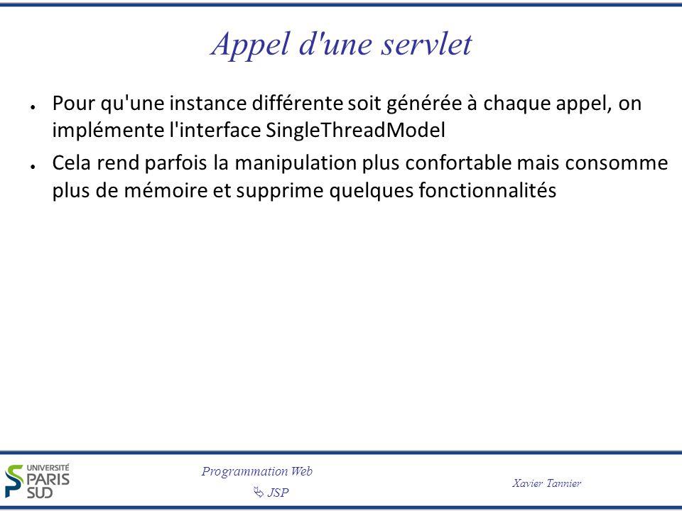 Programmation Web Xavier Tannier JSP 20 Stocker des attributs public class Caddie extends HttpServlet { public void doGet (HttpServletRequest request, HttpServletResponse response) throws ServletException, IOException { // Récupère la session HttpSession session = request.getSession(true); // Lâge de lutilisateur est dans la requête // (issue dun formulaire) int age = Integer.parseInt(request.getParameter( age_user )); // Conserve linformation dans la session session.setAttribute( age ,new Integer(age)); }