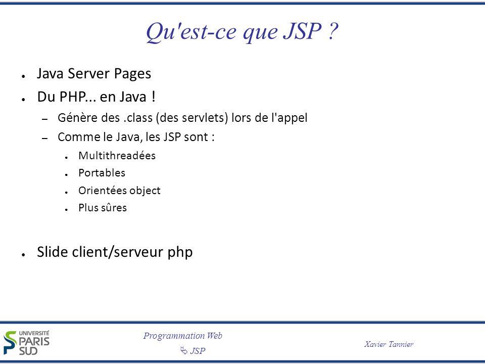 Programmation Web JSP Xavier Tannier Qu'est-ce que JSP ? Java Server Pages Du PHP... en Java ! – Génère des.class (des servlets) lors de l'appel – Com