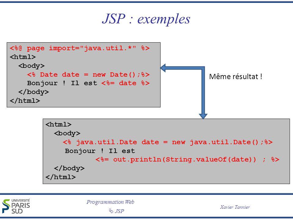 Programmation Web JSP Xavier Tannier JSP : exemples Bonjour ! Il est Bonjour ! Il est Même résultat !