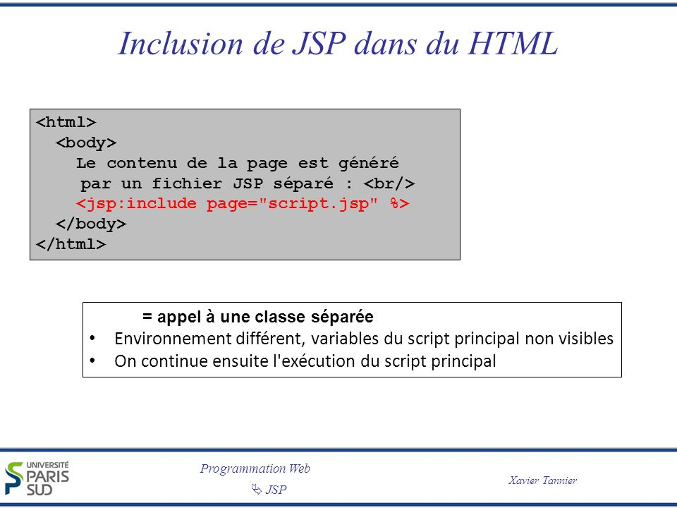Programmation Web JSP Xavier Tannier Inclusion de JSP dans du HTML Le contenu de la page est généré par un fichier JSP séparé : = appel à une classe séparée Environnement différent, variables du script principal non visibles On continue ensuite l exécution du script principal