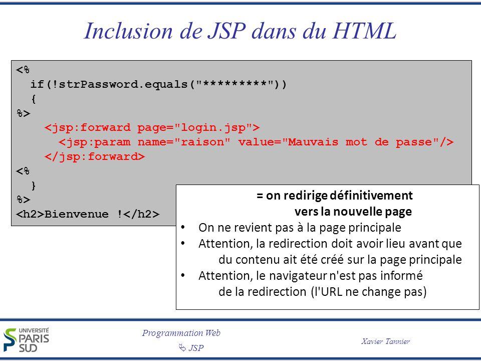 Programmation Web JSP Xavier Tannier Inclusion de JSP dans du HTML <% if(!strPassword.equals( ********* )) { %> <% } %> Bienvenue .