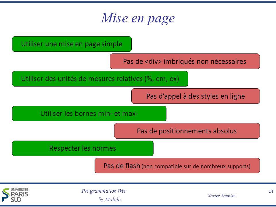 Programmation Web Xavier Tannier Mobile Mise en page 14 Pas de imbriqués non nécessaires Pas de flash (non compatible sur de nombreux supports) Pas da