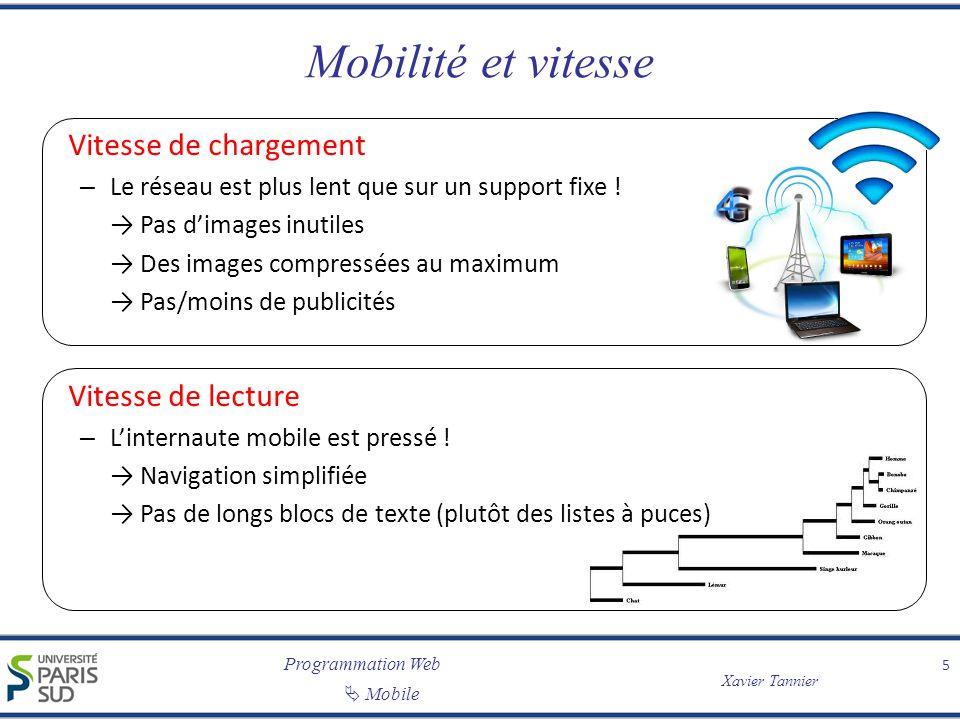 Programmation Web Mobile Xavier Tannier Mobilité et vitesse Vitesse de chargement – Le réseau est plus lent que sur un support fixe ! Pas dimages inut