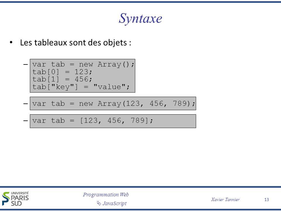 Programmation Web JavaScript Xavier Tannier Syntaxe Les tableaux sont des objets : – var tab = new Array(); tab[0] = 123; tab[1] = 456; tab[ key ] = value ; – var tab = new Array(123, 456, 789); – var tab = [123, 456, 789]; 13