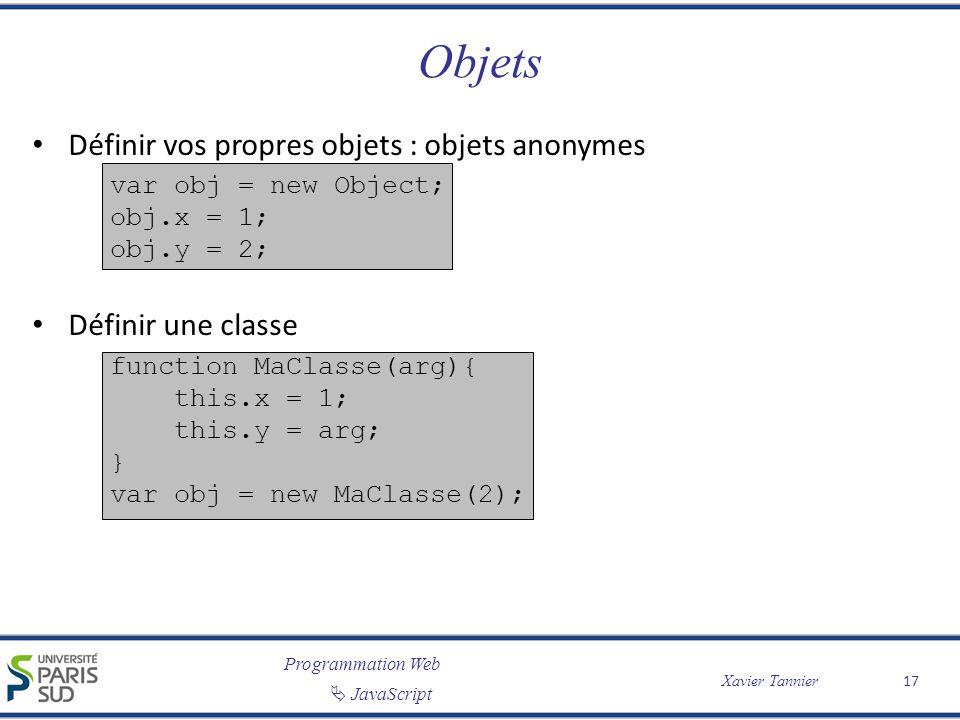 Programmation Web JavaScript Xavier Tannier Objets Définir vos propres objets : objets anonymes var obj = new Object; obj.x = 1; obj.y = 2; Définir une classe function MaClasse(arg){ this.x = 1; this.y = arg; } var obj = new MaClasse(2); 17