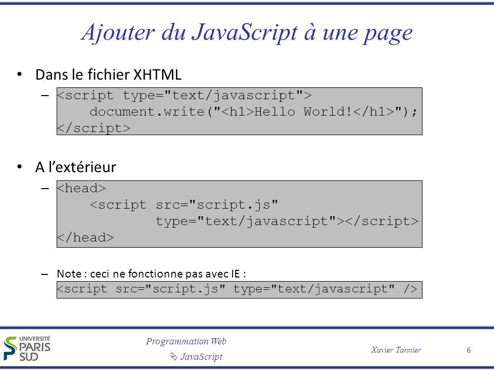 Programmation Web JavaScript Xavier Tannier Ajouter du JavaScript à une page Dans le fichier XHTML – document.write( Hello World.