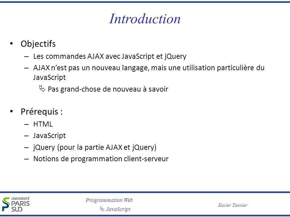 Programmation Web JavaScript Xavier Tannier Introduction Objectifs – Les commandes AJAX avec JavaScript et jQuery – AJAX nest pas un nouveau langage,