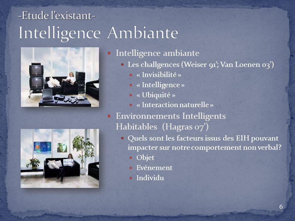 Intelligence ambiante Les challgences (Weiser 91; Van Loenen 03) « Invisibilité » « Intelligence » « Ubiquité » « Interaction naturelle » Environnemen