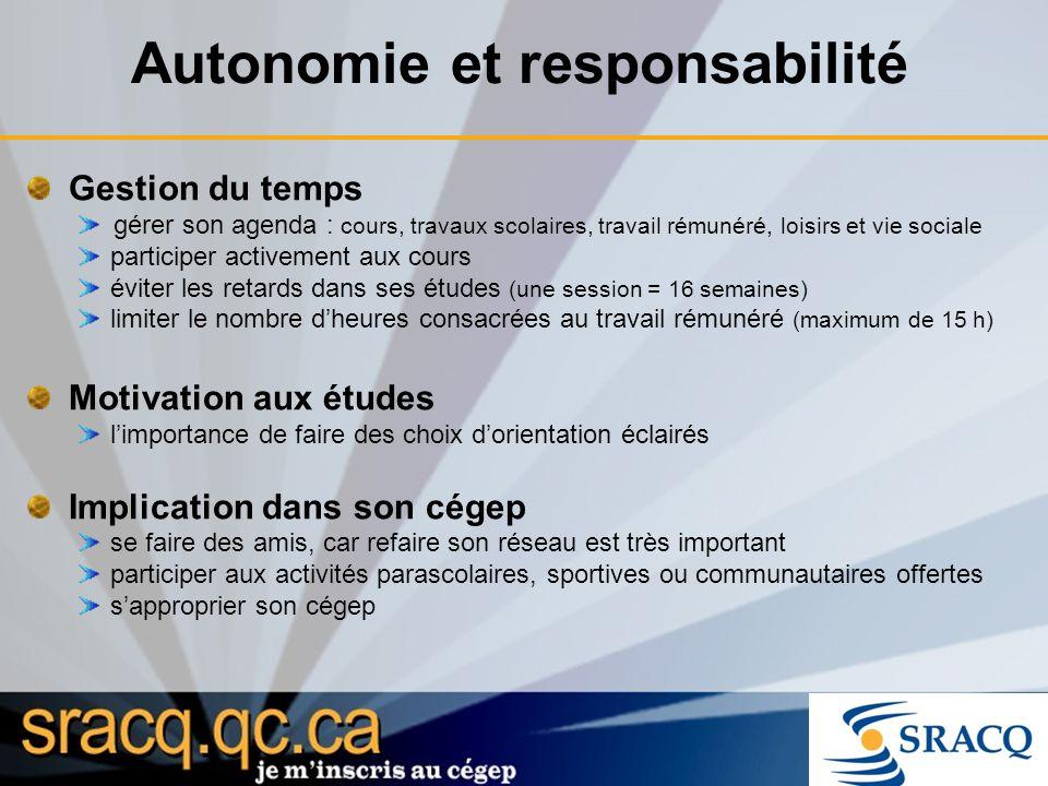 Autonomie et responsabilité Gestion du temps gérer son agenda : cours, travaux scolaires, travail rémunéré, loisirs et vie sociale participer activeme