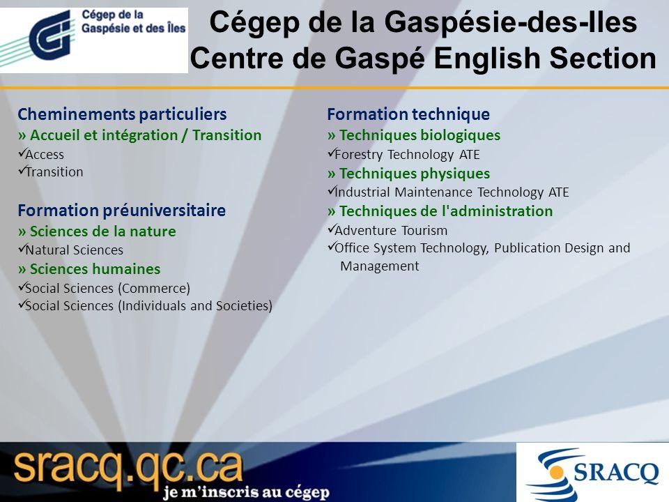 Cégep de la Gaspésie-des-Iles Centre de Gaspé English Section Cheminements particuliers » Accueil et intégration / Transition Access Transition Format