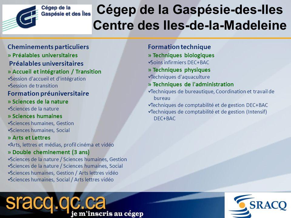 Cégep de la Gaspésie-des-Iles Centre des Iles-de-la-Madeleine Cheminements particuliers » Préalables universitaires Préalables universitaires » Accuei