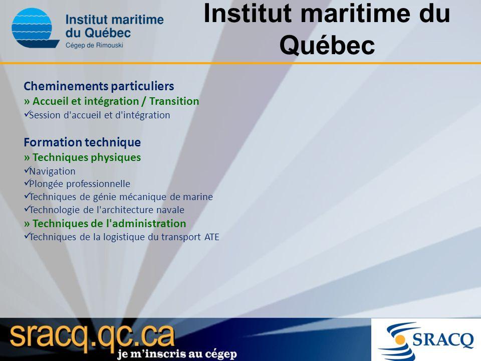 Institut maritime du Québec Cheminements particuliers » Accueil et intégration / Transition Session d'accueil et d'intégration Formation technique » T