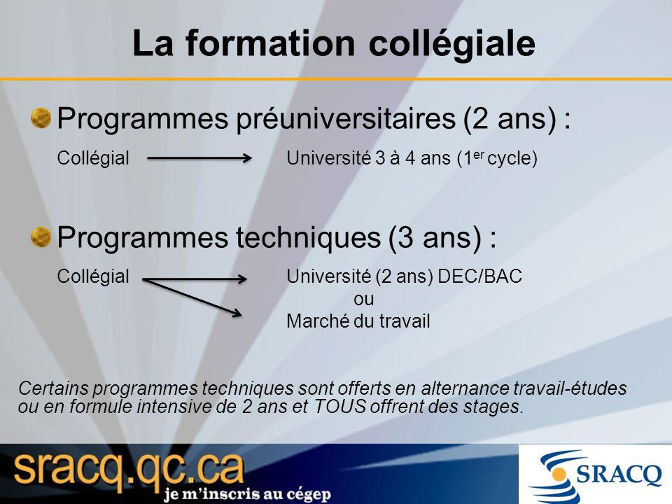 La formation collégiale Programmes préuniversitaires (2 ans) : Collégial Université 3 à 4 ans (1 er cycle) Programmes techniques (3 ans) : CollégialUn