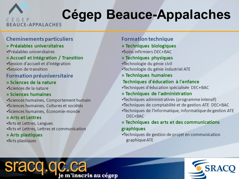Cégep Beauce-Appalaches Cheminements particuliers » Préalables universitaires Préalables universitaires » Accueil et intégration / Transition Session