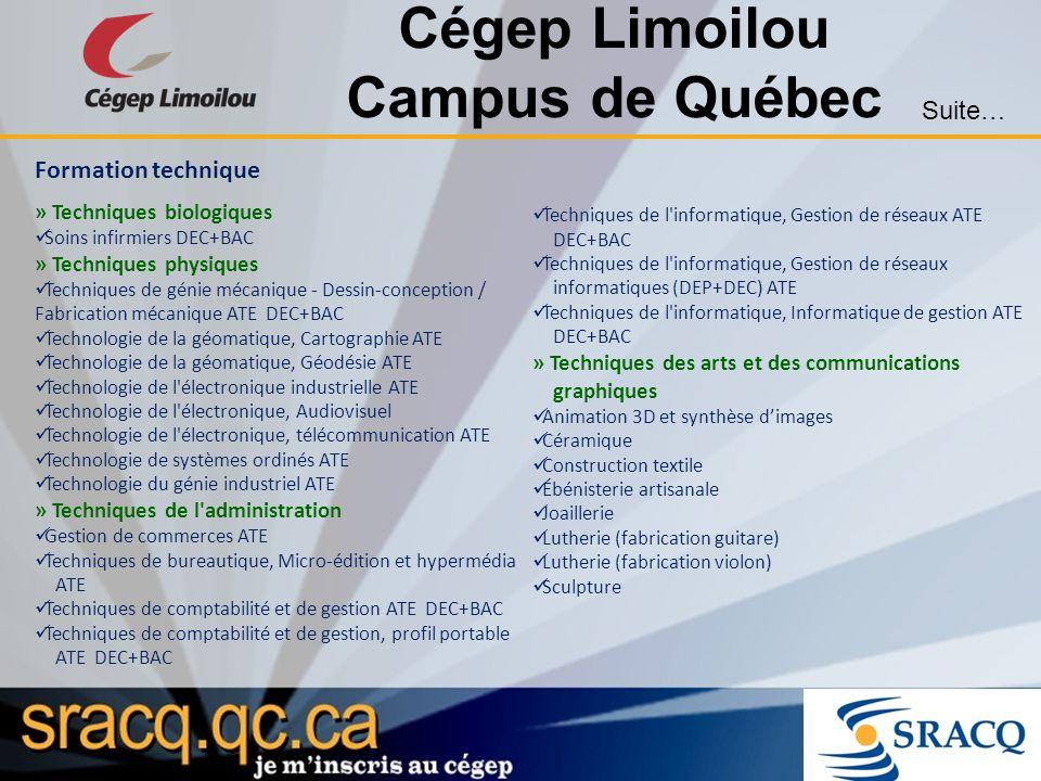 Cégep Limoilou Campus de Québec Formation technique » Techniques biologiques Soins infirmiers DEC+BAC » Techniques physiques Techniques de génie mécan