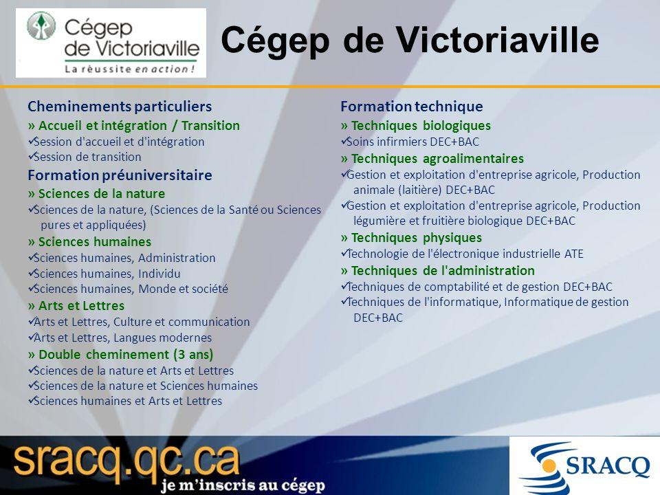 Cégep de Victoriaville Cheminements particuliers » Accueil et intégration / Transition Session d'accueil et d'intégration Session de transition Format