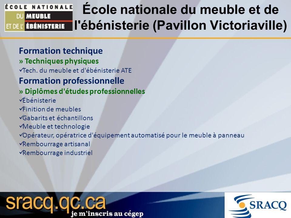École nationale du meuble et de l'ébénisterie (Pavillon Victoriaville) Formation technique » Techniques physiques Tech. du meuble et d'ébénisterie ATE
