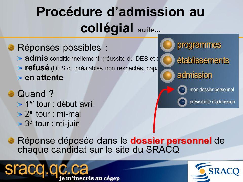 Procédure dadmission au collégial suite… Réponses possibles : admis conditionnellement (réussite du DES et des préalables exigés) refusé (DES ou préal