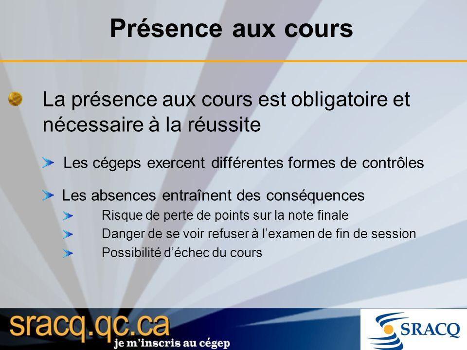 Présence aux cours La présence aux cours est obligatoire et nécessaire à la réussite Les cégeps exercent différentes formes de contrôles Les absences