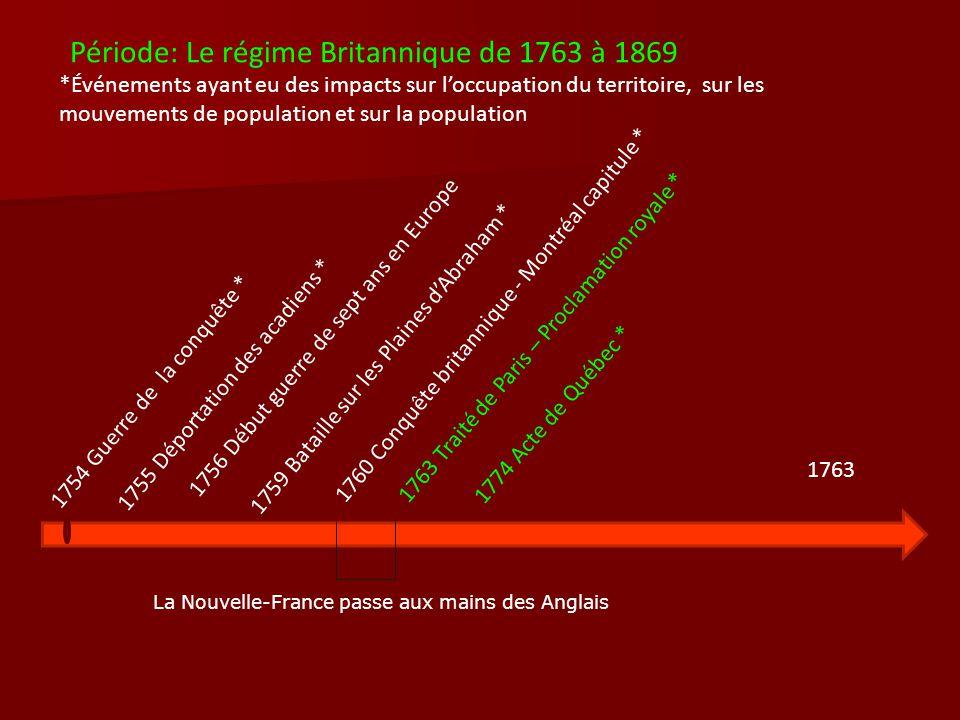 Période: Le régime Britannique de 1763 à 1869 *Événements ayant eu des impacts sur loccupation du territoire, sur les mouvements de population et sur