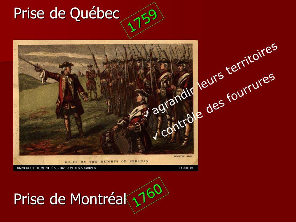 Prise de Québec 1759 agrandir leurs territoires contrôle des fourrures Prise de Montréal 1760