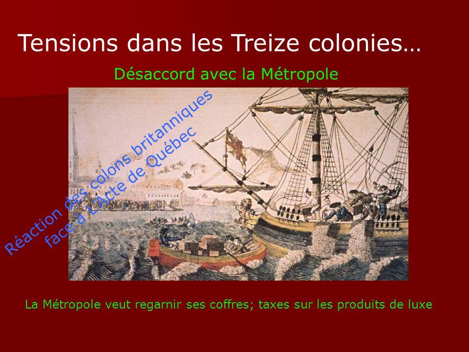 Tensions dans les Treize colonies… Désaccord avec la Métropole La Métropole veut regarnir ses coffres; taxes sur les produits de luxe Réaction des col