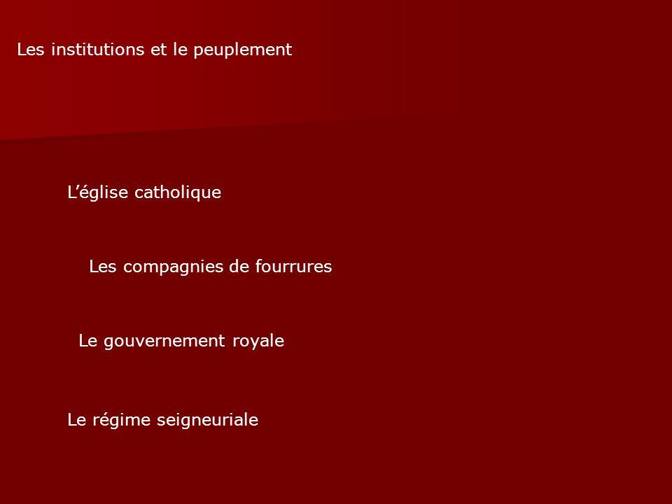 Les institutions et le peuplement Léglise catholique Les compagnies de fourrures Le gouvernement royale Le régime seigneuriale
