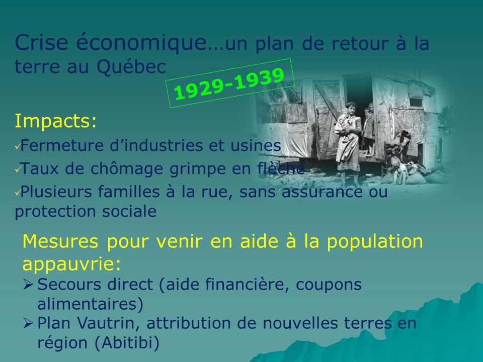 Crise économique… un plan de retour à la terre au Québec Impacts: Fermeture dindustries et usines Taux de chômage grimpe en flèche Plusieurs familles