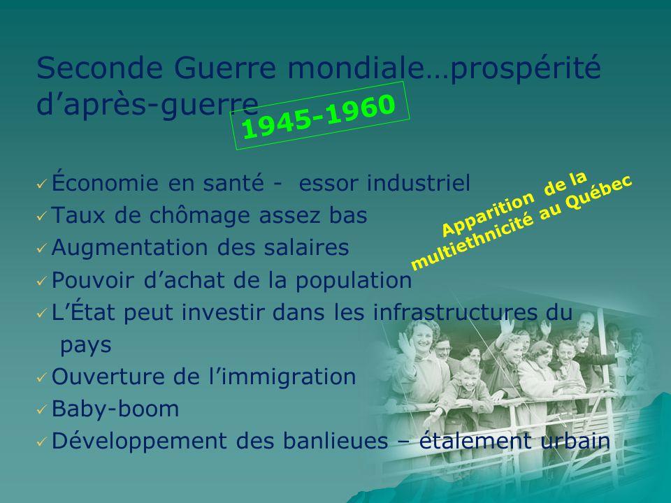 Seconde Guerre mondiale…prospérité daprès-guerre Économie en santé - essor industriel Taux de chômage assez bas Augmentation des salaires Pouvoir dach