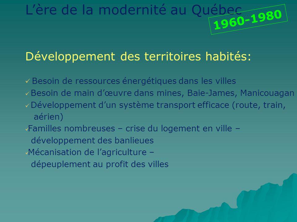 Lère de la modernité au Québec Développement des territoires habités: Besoin de ressources énergétiques dans les villes Besoin de main dœuvre dans min